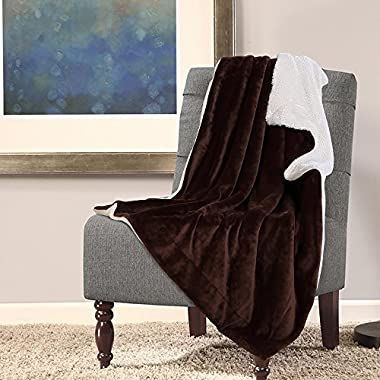 Bedsure Sherpa Blanket Throw Blankets Bed Blankets, Soft Cozy and Warm(Reversible/Textured/Fuzzy), 60  x 80  Brown