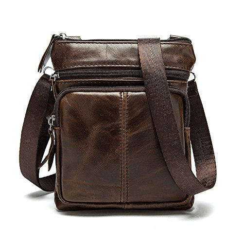 Tibes Moda Messenger Bag a tracolla in pelle borsa tracolla Zipper Uomo Caffè
