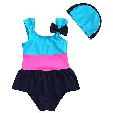 4cfe79b227 Vivobiniya Kids Swimsuit One-piece Swimsuit Color Focus Splice Swimwear  3-7T (3