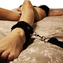Under Bed Restraints for Sex Wrist Ankle Cuffs with adjustable straps (Furry) - Black by HappyNHealthy