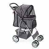 OxGord Pet Stroller Cat/Dog Easy Walk Folding Travel Carrier Carriage, Plaid Blue