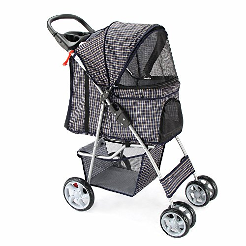 OxGord Pet Stroller Cat/Dog Easy Walk Folding Travel Carrier Carriage, Plaid Blue