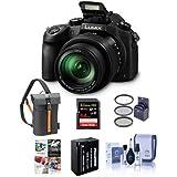 Panasonic Lumix DMC-FZ1000 Digital Camera, - Bundle with 64GB Class 10 SDXC Card, Camera Holster Case, Spare Battery, 62mm Filter Kit, Cleaning Kit, Software Bundle