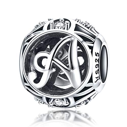(BAMOER 925 Sterling Silver Initial Letter A Charms for Bracelet Necklace Alphabet Beads)