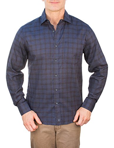 THADDEUS Park Long Sleeve Plaid Button Down Shirt With Chest Pocket Denim Blue Size XL (Chest Pocket Jeans)