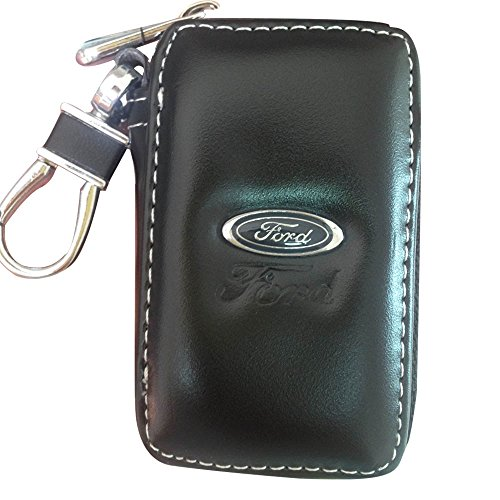 SHANG MEDING Black Premium Leather Car Key Chain Coin Holder Zipper Case Remote Wallet Bag - Paint How Sunglasses To