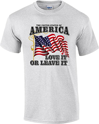 Flag Front Ash Grey T-shirt - T-ShirtQueen Men's Patriotic America Love It or Leave It Flag T-Shirt X-Large Ash