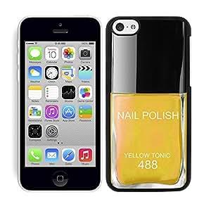 "Funda carcasa para Apple iPhone 5C diseño pintauñas amarillo ""Yellow Tonic"" 488 borde negro"