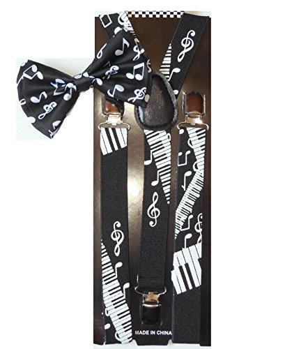 Men Unisex Awesome PIANO NOTES Bowtie and Suspenders