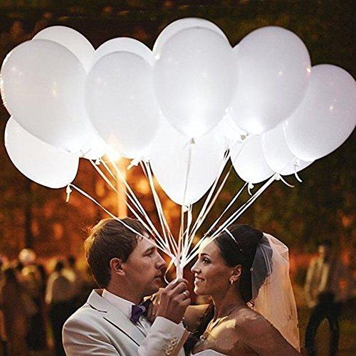 Lisyline 20PCS Led Light up Balloons White Balloon for Wedding Birthday Festive Party Decoration Latex Balloons]()
