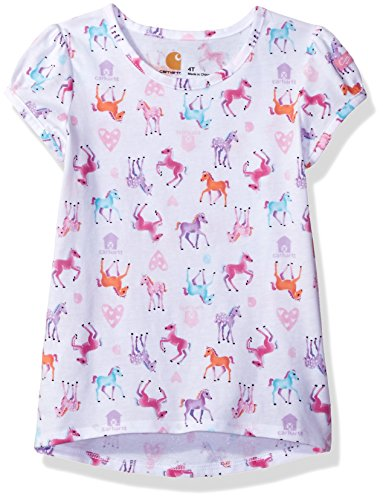 Carhartt Toddler Girls' Watercolor Horse Printed Tee, Watercolor White, 2T