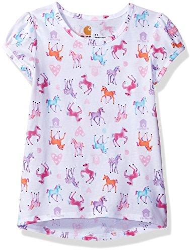 Carhartt Toddler Girls' Watercolor Horse Printed Tee, Watercolor White, 2T