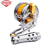 Proberos Trolling Reel Jig Fishing Reels Heavy Duty Sea Ocean Big Offshore Fishing Reel For Trout Bass Aluminum CNC Machined Max Drag Power 30lb&35lb&42lb&46lb(500, left)