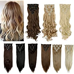 FUT Full Head 18 Clips in 8 Piece Synthetic Hair Extensions Curly 17inch 140g for Girl Lady Women Medium Brown