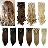 FUT Full Head 18 Clips in 8 Piece Synthetic Hair Extensions 17-26inch 140-145g for Girl Lady Women