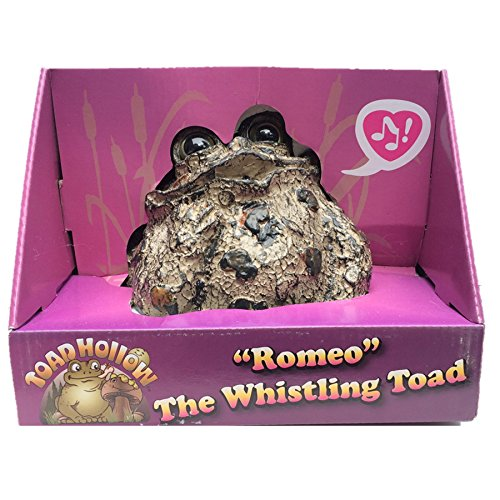 "Toad Hollow Romeo Motion Activated Whistling Toad Statue 6"", Natural Brown Frog"