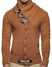 Fastyletop Men's Thick Coat Cashmere Turtleneck Sweater Cardigan Male Wear Wool Sweater Lapel Tide
