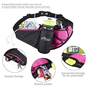 Fanny Pack AIHOLES Waist Pack with Water Bottle Holder Waterproof Running Belt Fits iPhone 7/6S Plus Galaxy S6 S7 Note 6/7 Reflective Water Bottle Pack for Running Hiking Travel Activities-Pink