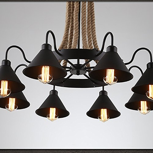ZI LIN SHOP- Retro Industrial Style Chandeliers Creative Personality Iron Hemp Bar Restaurant Clothing Store Barber Shop Net Coffee Lights rug ( Size : 8 heads )