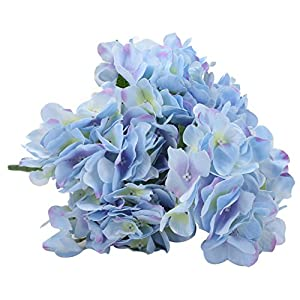 Duovlo Artificial Silk Hydrangea Flower with 6 Heads Flower Bunch Bouquet Home Wedding Garden Floral Decor 11