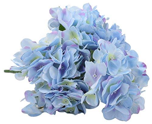 Duovlo Artificial Silk Hydrangea Flower with 6 Heads Flower Bunch Bouquet Home Wedding Garden Floral Decor (Blue)