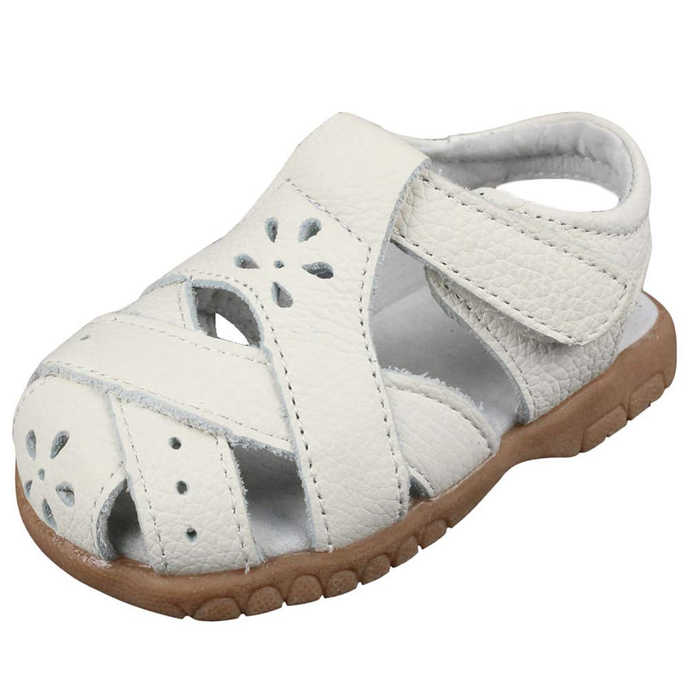 2f6c538b8 Amazon.com  Muy Guay Baby Girls Sandals Flower Leather Toddler Sandals with  Rubber Sole Closed-Toe White Sandals  Shoes