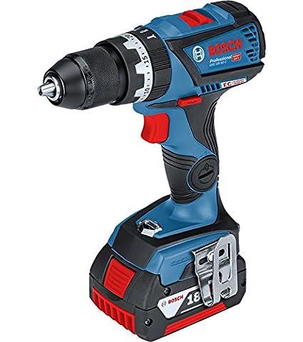 Bosch Professional 06019G2100 Taladro atornillador a batería con percusión, 18 V, Azul