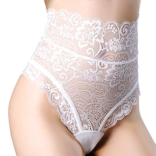 (Dlsave Womens Sexy Lace Up Panties High Waist Underwear Knickers, White, XX-Large)
