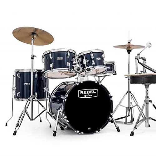 Mapex RB5844FTCYB Rebel 5 Piece Royal Blue Drum Kit w/Cymbals, Throne + Hardware