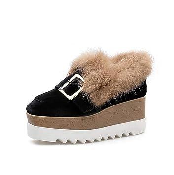 De Suela Gruesa Plataforma Zapatos De La Bomba Mocasines Mujeres Conforty 7.5 Cm Cuña Talón Cuadrados