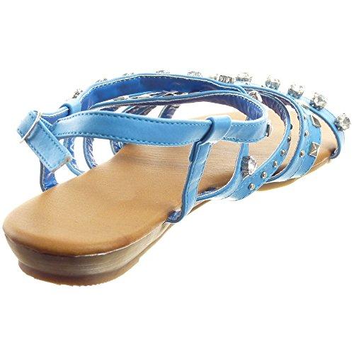 Sopily - Scarpe da Moda sandali Gladiatore alla caviglia donna multi-briglia borchiati strass Tacco zeppa 1.5 CM - Blu