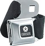 Official Licensed Chrysler Car Logo Seatbelt Buckle Belt with Canvas Black Webbing