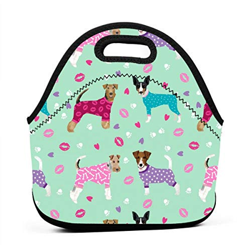Reusable Lunch Bags TerriersDogs Cute Rat Terrier,Welsh Terrier, Wire Fox Terrier_660 Waterproof Insulated Lunch Portable Carry Tote Picnic Storage Bag Lunch box Food Bag Gourmet Handbag For School