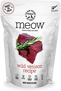 The New Zealand Natural Pet Food Meow Wild Venison Freeze Dried Raw Cat Food, Topper, or Treat - High Protein, Natural, Limited Ingredient Recipe 1.76 oz, Brown (NZ-MFD050WV)