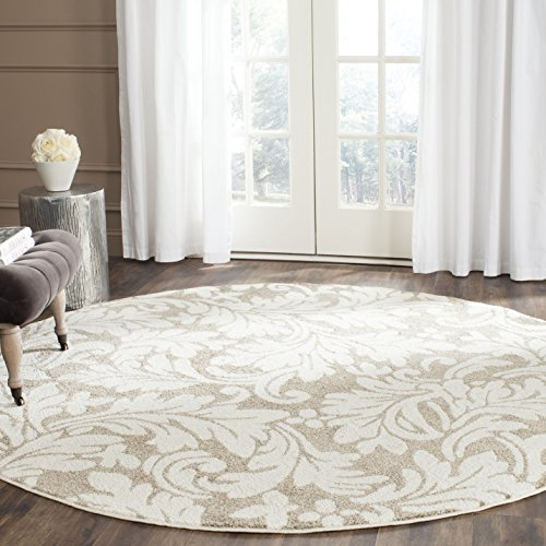 Safavieh Amherst Collection AMT425S Wheat and Beige Indoor/ Outdoor Round Area Rug (7' Diameter)