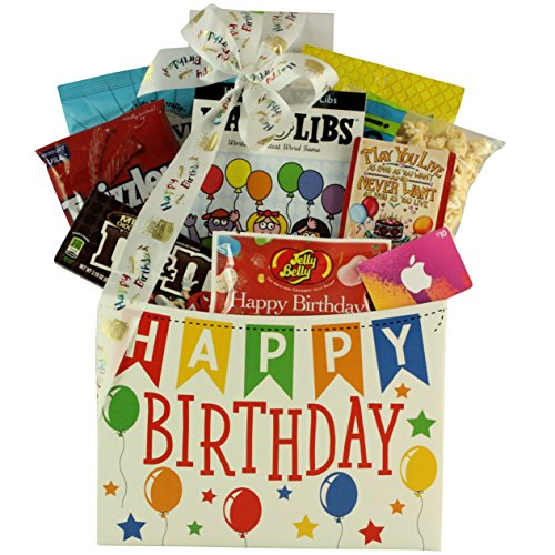 GreatArrivals Itunes Birthday: Kid's Teen Birthday Gift Basket Ages 13 & Up, 4 Pound (Birthday Baskets For Boys)