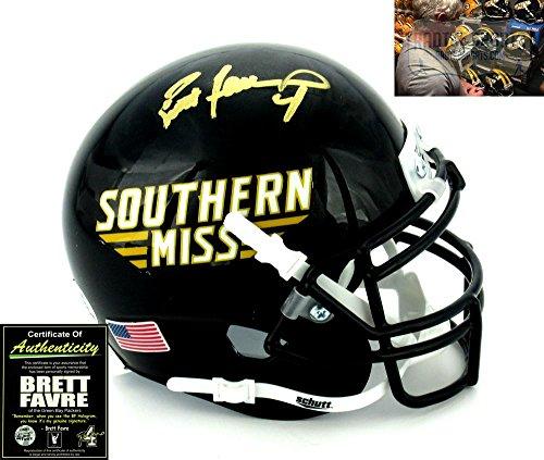 Brett Favre Autographed/Signed Southern Mississippi Golden Eagles Schutt NCAA Mini Helmet - Autographed College Mini - Autographed Ncaa Helmets Mini