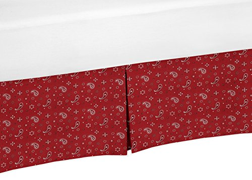 Sweet Jojo Designs Red Bandana Crib Bed Skirt Dust Ruffle for Boys Wild West Cowboys Collection Baby Bedding Sets (Bed Bandana Sheets)