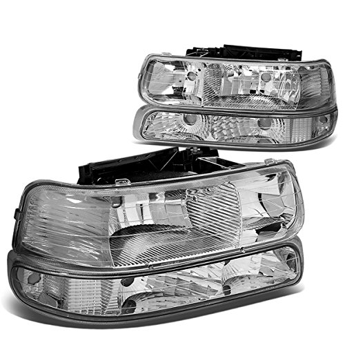 Chrome Housing Clear Corner Headlight+Bumper Light Lamp for Chevy Silverado Suburban Tahoe 99-02 ()