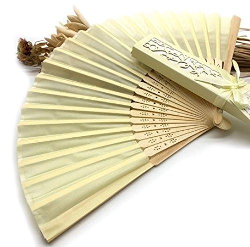 Beige 1Pcs Luxurious Silk Fold Hand Fan In Elegant Laser-Cut Gift Box (Black; Ivory ; Pink) Party Favors Wedding Gifts