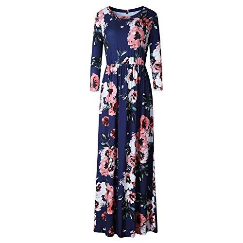 Deep Maxi Loose Ya Print Sleeve Long Rose Dress Maxi Womens Empire Floral Waist Casual Blue 3 Dresses 4 Retro Swing Casual pwIq4gHWw