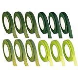 Cinta floral – Paquete de 12 cintas floristas, adhesivos florales verdes, perfectos para envolver tallos de ramo, arreglos florales y manualidades, 0.47 pulgadas x 30 yardas, 4 tonos verdes