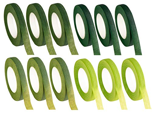 (Floral Tape - 12-Pack Florist Tape, Green Floral Adhesives, Perfect for Bouquet Stem Wrapping, Floral Arrangement and Crafts, 0.47 Inches x 30 Yards, 4 Green)