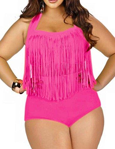 Spring fever for Women Plus Size Retro High Waist Braided Fringe Top Bikini Swimwear(Rose Pink,2XL)