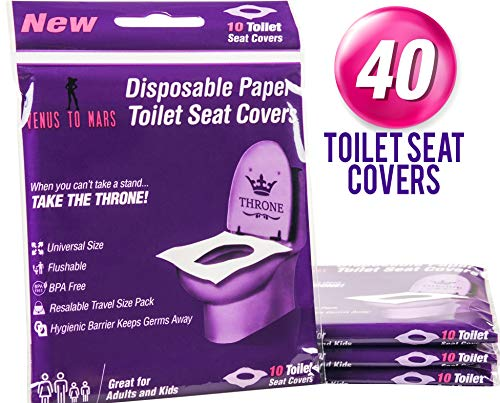 Great Travel Potty - 40 Disposable Toilet Seat Covers - Flushable Toilet Seat Covers for Kids, Toddlers and Adults for Use During Travel, Potty Training and Many More (4 Resealable Packs of 10)- by Venus To Mars