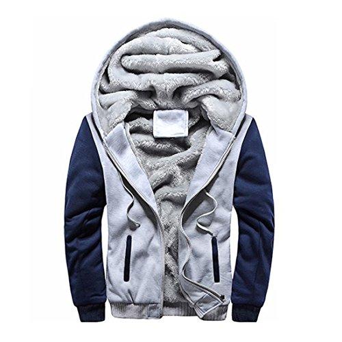 Zippée Glissière Pull Capuchon Sweatshirt Chaud Homme 4xl Polaire Veste Gris Hiver À Capuche Manteau S Cuir Sweat Internet P78qC