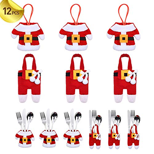 PintreeLand 12PCS ChristmasSilverware HoldersChristmas Tree Ornaments Party Decorations, Xmas Cutlery TablewareHolder Santa Suit Dinner Table Decor Knife Fork Pocket Bag Hostess Gifts (Hostess Christmas For Gifts)