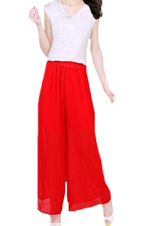 KXP Womens Vouge Wide Leg Solid Long Chiffon Pants