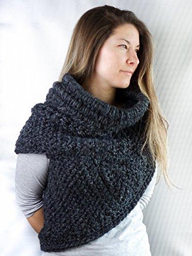 Crochet asymmetric cowl * handmade chunky wool for women style fall warm katniss huntress style * by Crochetmilie