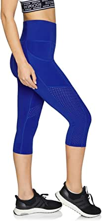 Rockwear Activewear Women's 3/4 Perforated Waist Pocket Tight Cobalt 6 from Size 4-18 for 3/4 Length Ultra High Bottoms Leggings + Yoga Pants+ Yoga Tights